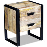 Side Table with 2 Drawers Solid Mango Wood 43x33x51 cm