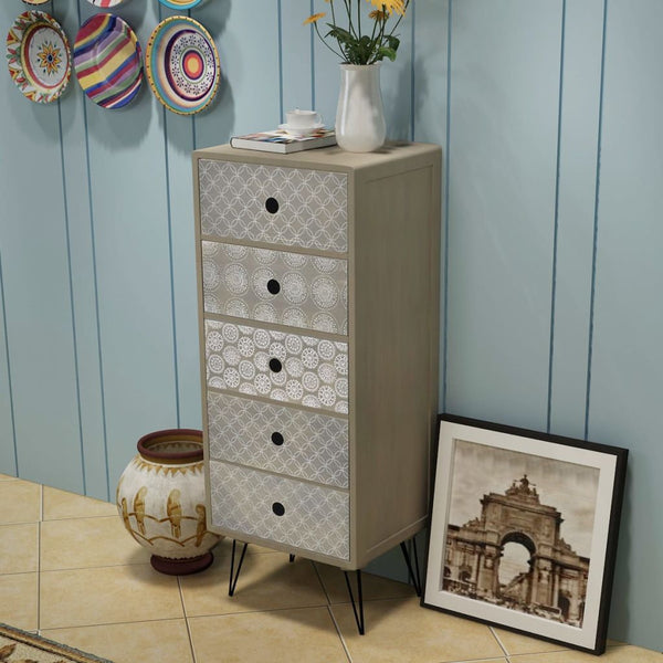 Side Cabinet 5 Drawers Grey