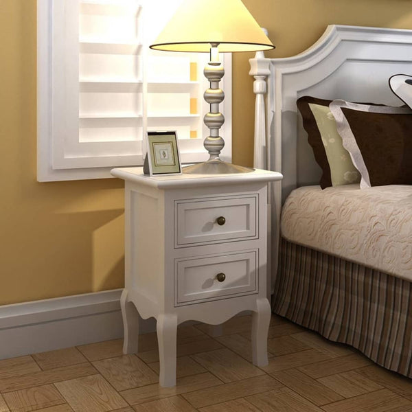 Nightstands 4 pcs with 2 Drawers MDF White