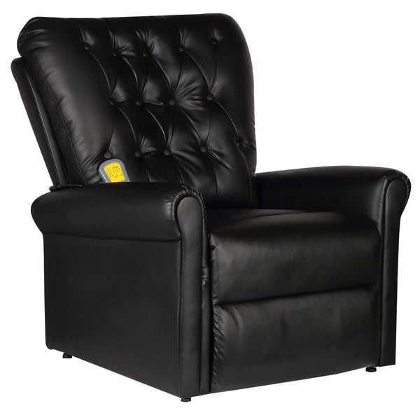 Electric Massage Recliner Chair Black Faux Leather
