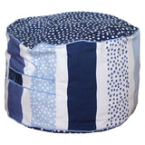 Stripy Dot Kids Bean Ottoman Cover (Navy Dot)