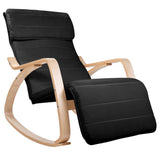 Birch Plywood Adjustable Rocking Lounge Arm Chair w/ Fabric Cushion Black