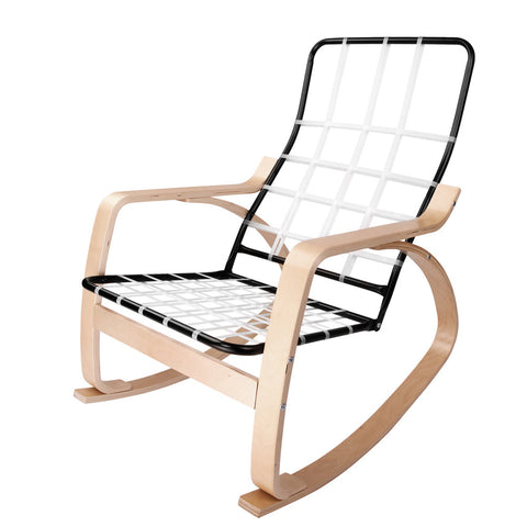 Birch Plywood Fabric Lounge Rocking Chair Beige With Foot Stool