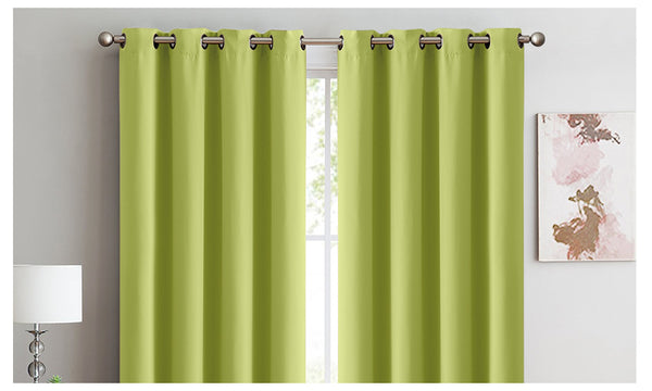 2X 100% Blockout Curtains Panels 3 Layers Eyelet AVOCADO 240X230cm