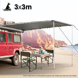 Wallaroo 3m x 3m Car Side Awning Roof Top Tent - Grey