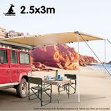 Wallaroo 3m x 2.5m Car Side Awning Roof Top Tent - Sand