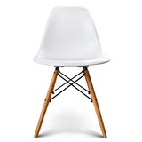 Set of 2 Retro Beech Wood Dining Chair - White