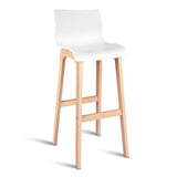 Set of 2 Beech Wood Barstool - White