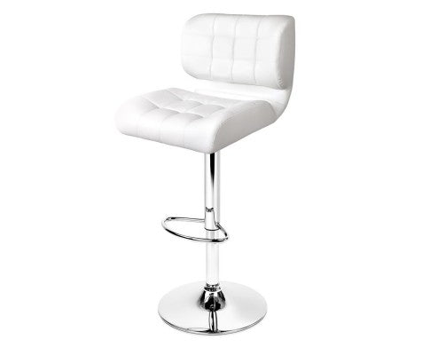 Set of 2 PU Leather Gas Lift Bar Stools - White and Chrome