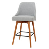 2x Wooden Bar Stools Swivel Bar Stool Kitchen Cafe Fabric Light Grey