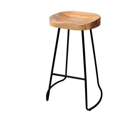 Set of 2 Wooden Backless Bar Stools - Natural