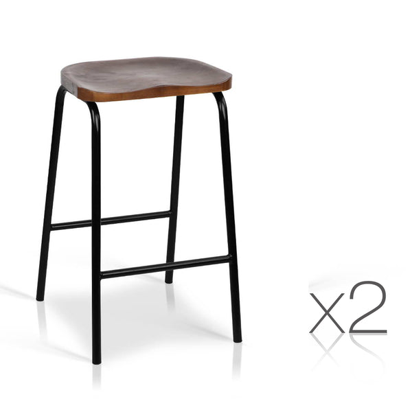 low cost b79f8 2110e Set of 2 Industrial Bar Stools with Wooden Seat