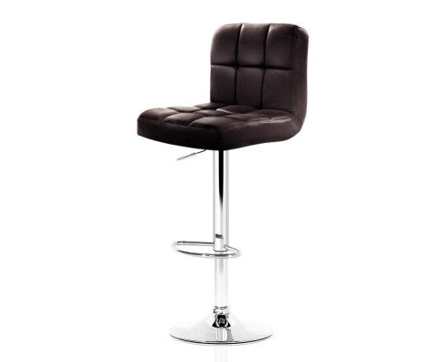 2x Gas Lift Bar Stools Swivel Chairs Leather Chrome - Chocolate