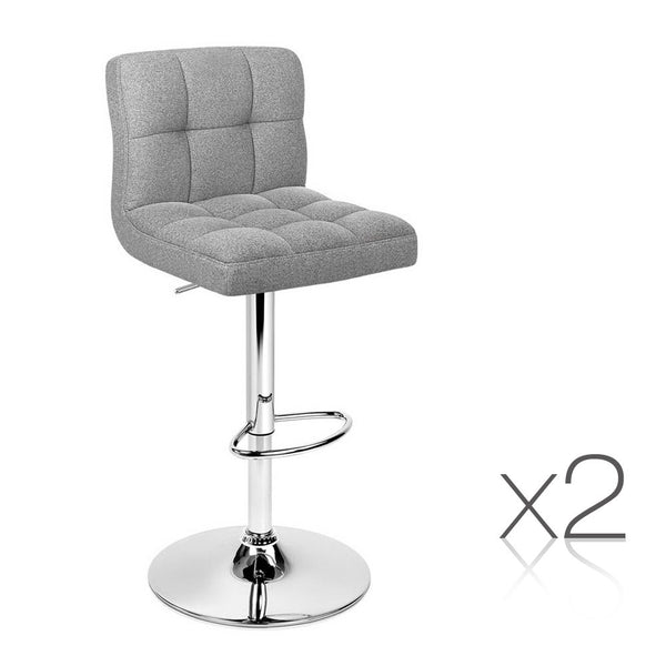 Set of 2 Swivel Fabric Bar Stool - Grey