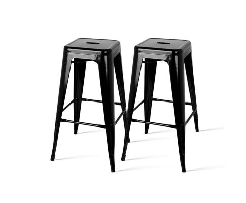 Set of 2 Metal Backless Stools - Black