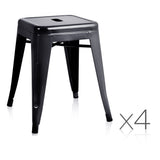 Set of 4 Replica Tolix Kitchen Bar Stool 46cm Black