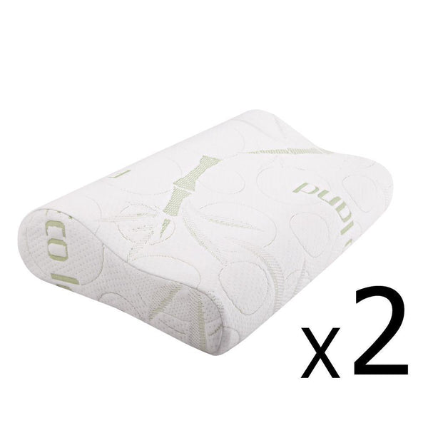 Set of 2 Bamboo Fabric Cover Contour Memory Foam Pillow 50 x 30 cm