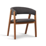 Fabric Dining Chair with PU Lacquer Finish Grey