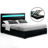 LED Bed Frame Double Full Size Gas Lift Base With Storage Black Leather
