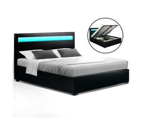 LED Bed Frame Queen Size Gas Lift Base With Storage Black Leathe