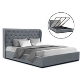 King Size Gas Lift Bed Frame Base With Storage Mattress Grey Fabric Wooden