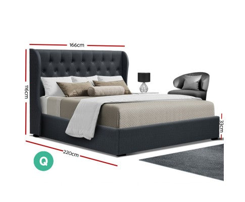 Queen Size Gas Lift Bed Frame - Charcoal