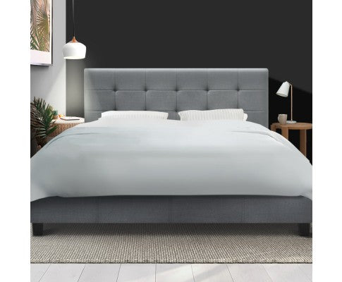 Double Full Size Bed Frame Base Mattress Platform Grey Fabric Wooden SOHO