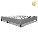 Double Linen Fabric Bed Base Grey