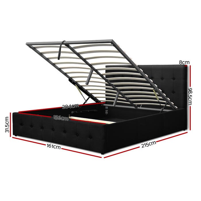 Gas Lift Queen Bed Frame -Charcoal