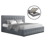 ROCA King Size Gas Lift Bed Frame Base With Storage Mattress Grey Fabric