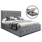 Bed Frame Double Full Size Gas Lift Base With Storage Grey Fabric TIYO