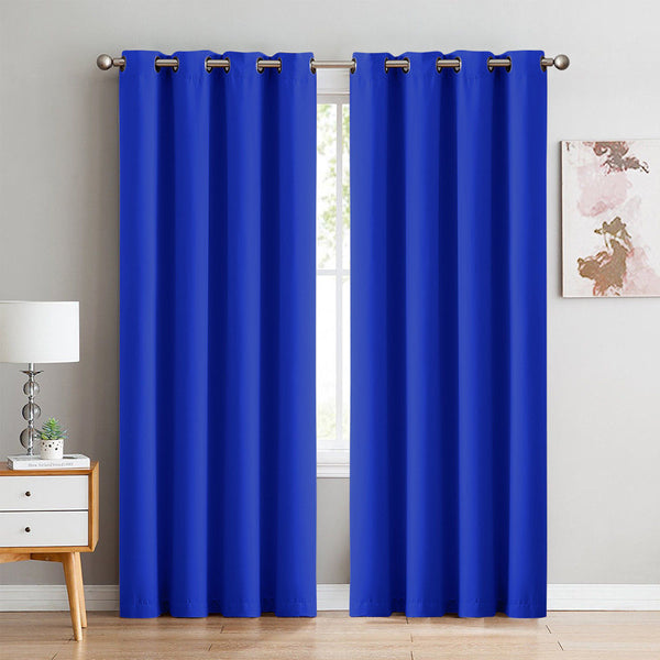2X 100% Blockout Curtains Panels 3 Layers Eyelet BLUE 140X230cm