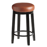 2pcs PU Leather Swivel Bar Stool in Camel 65CM Height