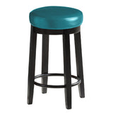 2pcs PU Leather Swivel Bar Stool in Deep Sea 75CM Height
