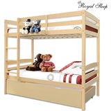 Bunk Beds Single Frame Solid Pine Children Wooden Kids Bedroom Furniture BE
