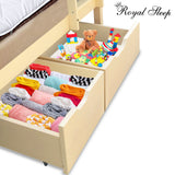 Bunk Bed Drawer Royal Sleep Solid Wood Pine Storage Underbed Box Beige Large
