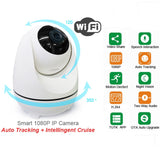 Auto Tracking IP High Def Smart Security Camera, Wireless Wi-Fi, Night Vision, 360-degree Two-Way Audio