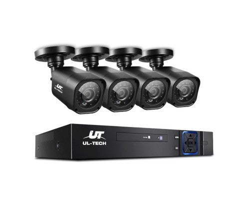 8CH 5 IN 1 DVR CCTV Security System Video Recorder /w 4 Cameras 1080P HDMI Black