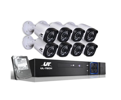 1080P Eight Channel HDMI CCTV Security Camera 1 TB White Black