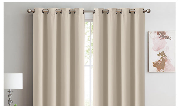 2X 100% Blockout Curtains Panels 3 Layers Eyelet BEIGE 140X230cm