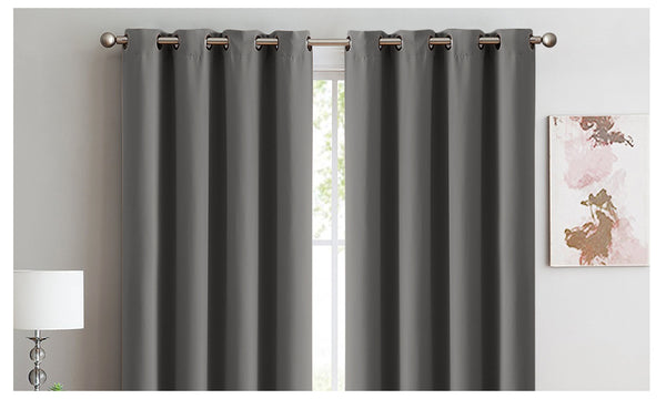 2X 100% Blockout Curtains Panels 3 Layers Eyelet CHARCOAL 300X230cm