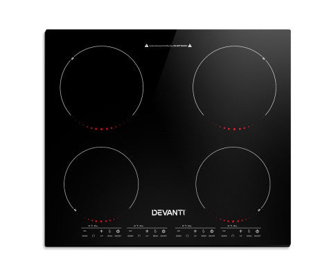 Induction Cooktop 60cm Portable Electric Ceramic Cooker 4 Burner Stove - Black
