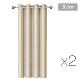 Set of 2 ArtQueen 3 Pass Eyelet Blockout Curtain Latte 300cm - 260GSM