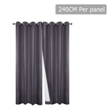 Set of 2 240CM Blockout Eyelet Curtain – Grey