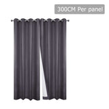 Set of 2 300CM Blockout Eyelet Curtain – Grey