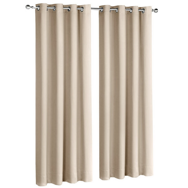 2 Panel 140 x 213cm Block Out Curtains - Latte