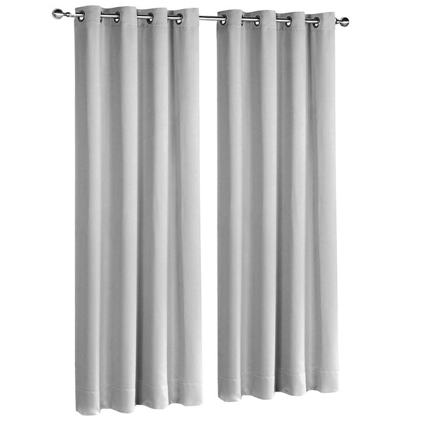 2 Panel 240 x 213cm Block Out Curtains - Light Grey