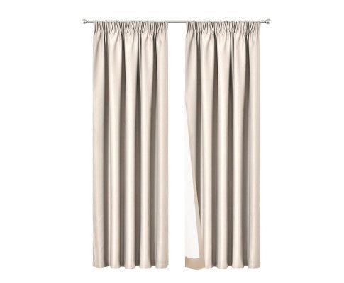 2 Pencil Pleat 140x213cm Blockout Curtains - Sand