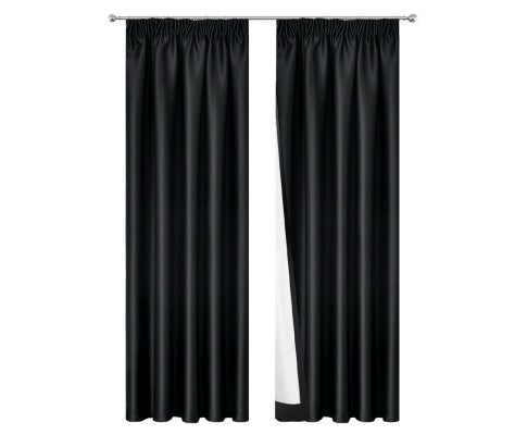 2 Pencil Pleat 180x230cm Blockout Curtains - Black