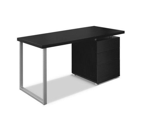 Metal Desk with 3 Drawers - Black